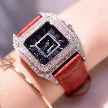 Neueste Top Luxus Voller Diamanten Platz Römischen ziffer Armband Uhr Frauen Mode Lederband Strass Quarz uhr Uhr