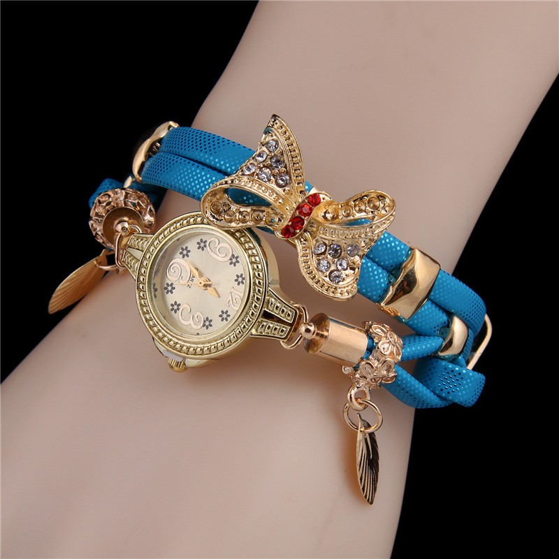 Minhin Butterfly Retro Bracelet Watches Women Lovely Wedding Quartz Wrist Watches 6 Colors Rhinestone Delicate Female Watches #3