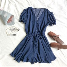 Summer Women Casual Polka Dot Short Jumpsuits Loose Puff Sleeve V-Neck Overalls Elegant Waist Drawstring Beach Playsuits Rompers white stripe pattern roll neck long sleeves drawstring waist playsuits