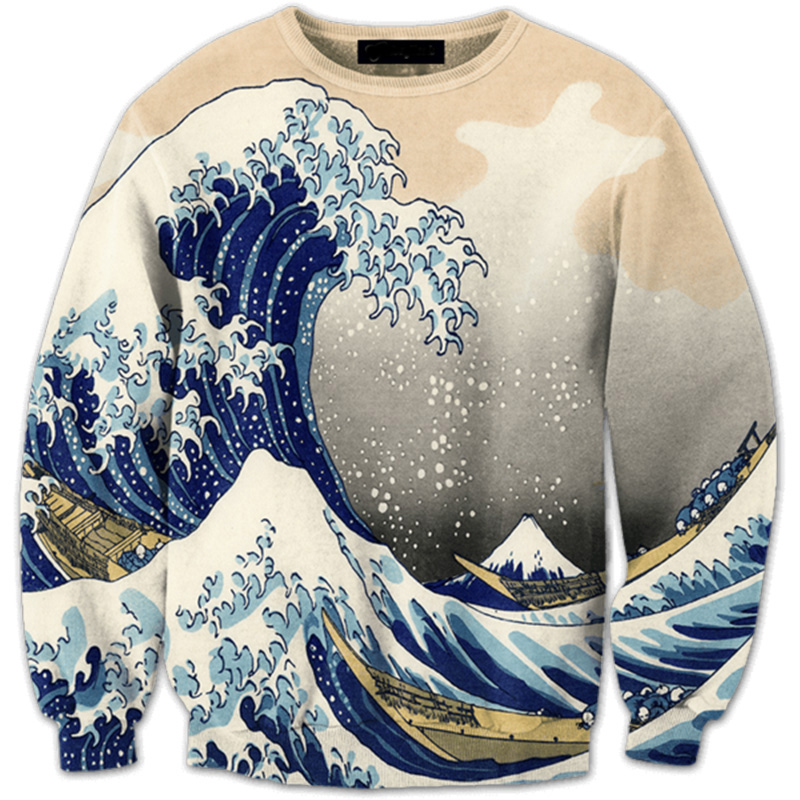 Cloudstyle 3D Sweatshirt Men Wave Boat 3D Print Long Sleeve Fashion Hoody Pullover Men Women Casual Streetwear Tops Plus 5XL