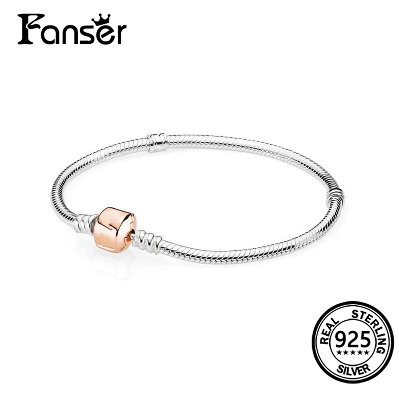 FANSER multicolor Bracelet Geniune 100% S925 Pure Silver Pandor Original Copy Has Logo & Silver with Rose Clasp Bangle Jewelry