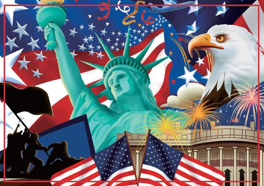 USA Cestovní magnety Dárky 78 * 54mm US Flag Magnets 20194 American Tourist Memorabilia Gift
