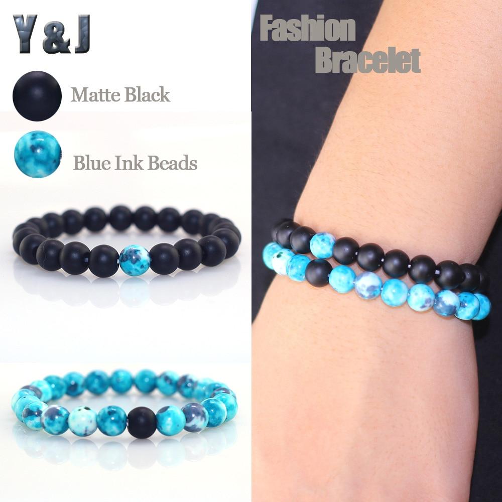 Y&J Retro Blue Ink Beads Women Bracelets Natural Matte Black Stone Bracelet for Men Couples Bracelet 100% Handmade Chains