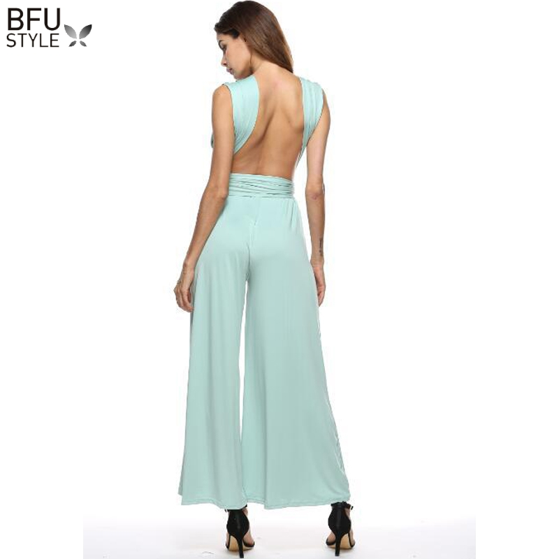 bf4abcc5d2a Multiway Wedding Party Jumpsuit Romper Wide Leg Palazzo Women Maxi Sexy  Bandage Long Playsuit Bridesmaids Convertible Bodysuit-in Jumpsuits from  Women s ...
