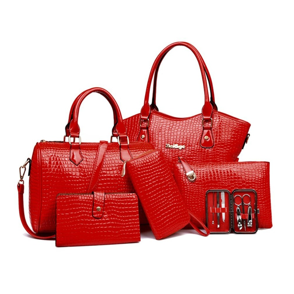 6PCS/SET Women Composite Bag Female Ladies Shoulder Handbag Clutch Bag Set Luxury Handbags Women Bags Designer Bolsos De Marca jooz brand luxury belts solid pu leather women handbag 3 pcs composite bags set female shoulder crossbody bag lady purse clutch
