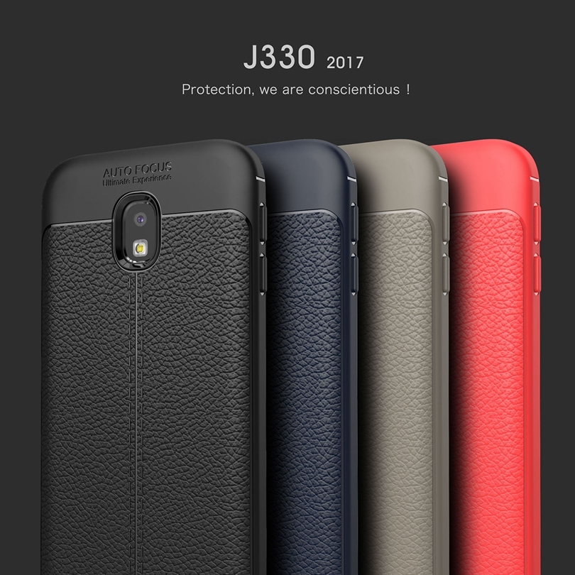 Galleria fotografica For Samsung Galaxy J3 2017 / J3Pro 2017 / J330 Case Phone Back Protective Smartphone Soft Litchi striae Shockproof Case Cover