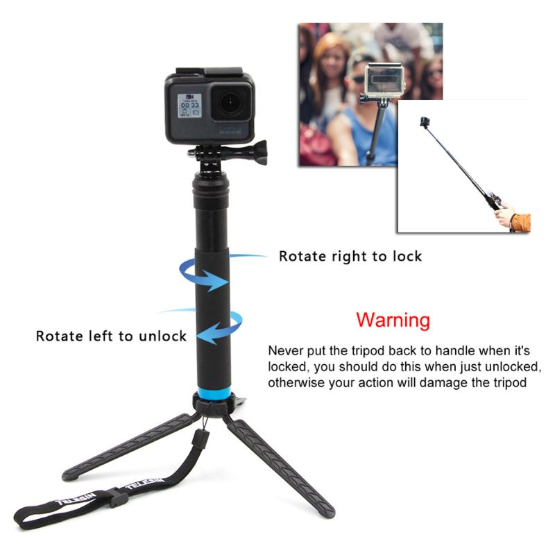 Waterproof Aluminum Alloy Extendable Handheld Selfie Stick Pole Monopod Tripod Selfie Stick Mount For GoPro Hero 4 5 6 SJCAM unfolded 480mm pole extendable waterproof tripod selfie stick handheld monopod dive for gopro hero 4 3 3 2 sj4000 for xiao yi