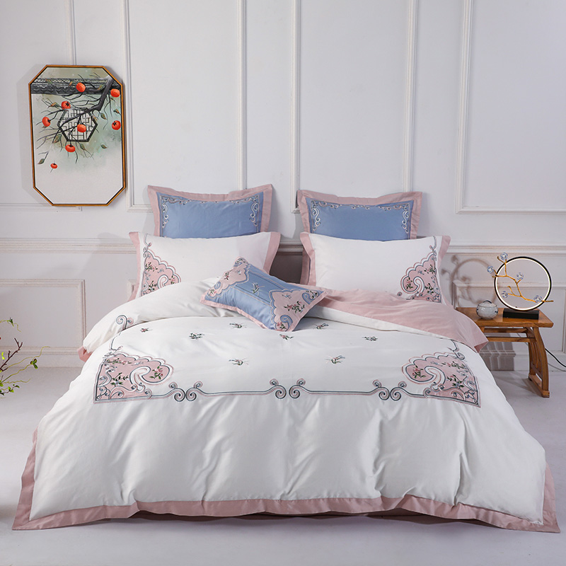 Home Textile Embroidery Bed Linen Egyptian Cotton  Duvet Cover Bedding Set Queen King Size 4Pcs Pillowcases Bed Sheet