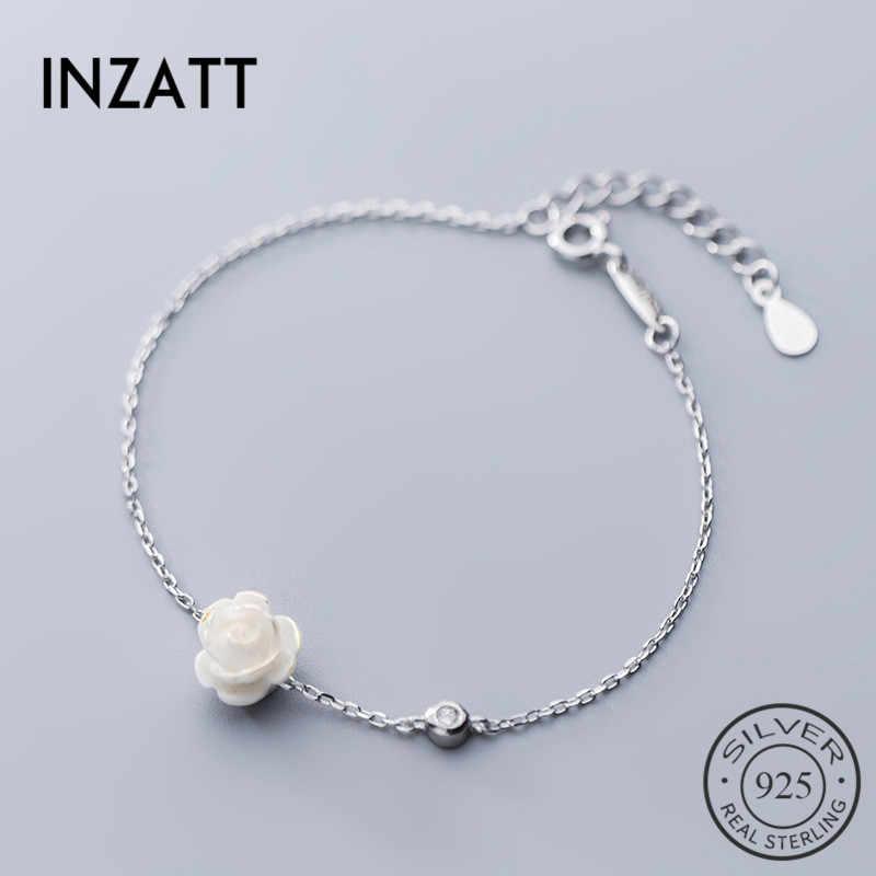 Inzatt 100% 925 Sterling Silver Bunga Lucu Gelang untuk Wanita Elegan Pesta Zircon Fine Perhiasan Aksesoris 2019 Hadiah Romantis