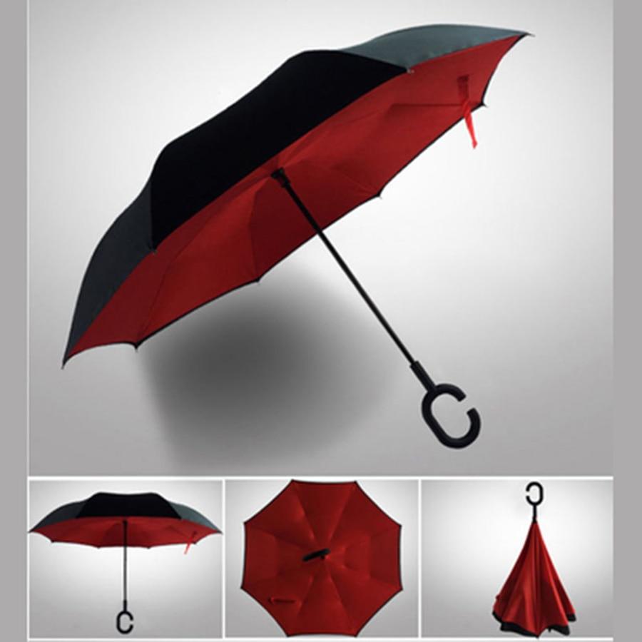 Umbrellas Ladies Rain Windproof Reverse Folding Umbrella Women Print Flower Black Coat Creative Men Umbrella Double DDDX5