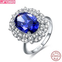 Jrose Luxury Jewelry Blue Stone 100 Authentic 925 Standard Sterling Silver Silver Robe Party Party Wedding