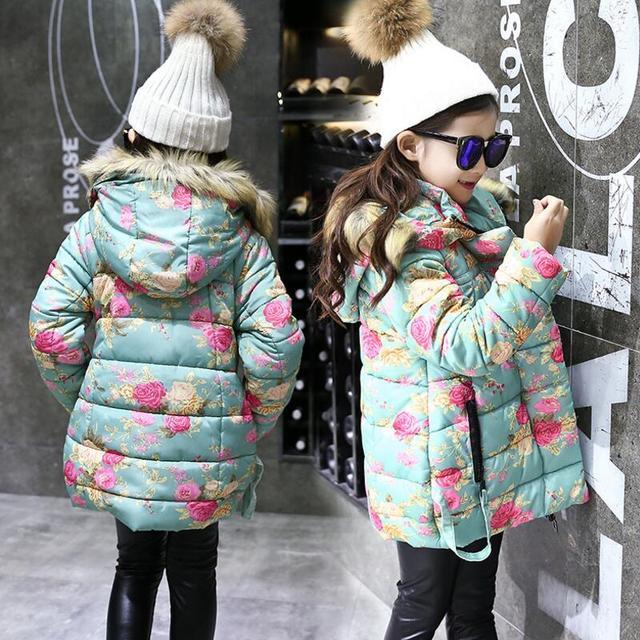 Warme Dikke Winterjas.Nieuwe 2017 Warme Dikke Winterjassen Meisjes Kids Fur Hooded Tiener