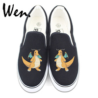 Wen White Black Slip On Shoes Anime Pokemon Cute Dragonite Design Custom Canvas Sneakers Skateboarding Shoes