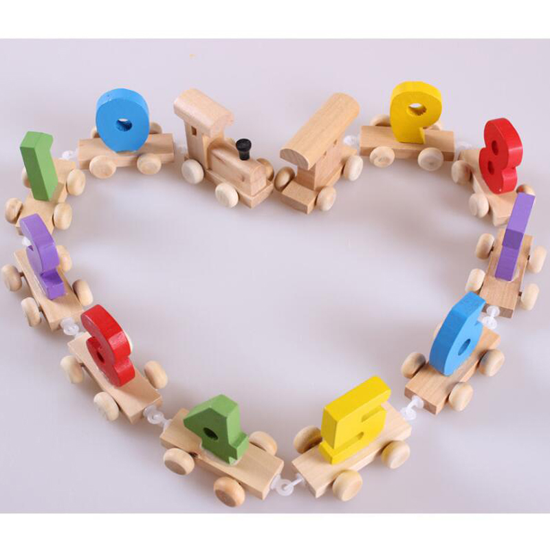 Baby Mini Wood Train Toy Children Digital Number Wooden Toys Train 0-9 Figures Railway Model Kids Early Educational Toys Gift Choice Materials