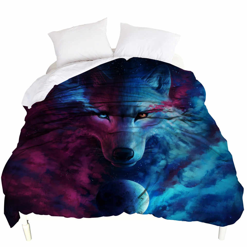 Where Light And Dark Meet by JoJoes Duvet Cover Queen 3D Wolf Soft Bed Cover Art Print Bedspreads 1-Piece housse de couette