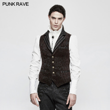 Punk Ravevest Men Vest Steampunk Vintage Lapel Jacquard Palace Retro Mens Waistcoat Gothic Sleevess