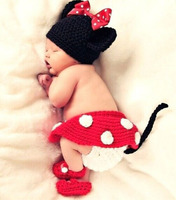 Baby Photo Props Miki Mouse Costume Cartoon Crochet Clothing Set Knit Hat Dress Shoes Newborn Baby