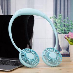 Image 4 - 2000MA el ücretsiz spor çift Fan taşınabilir boyun bandı asılı USB pil şarj edilebilir Mini soğutucu Fan ışıkları ve parça 360 Ad