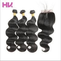 Hair Villa One Pack Remy Brazilian Body Wave With Closure Salon Human Hair Weave Bundles With