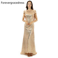 Forevergracedress High Quality Cheap Sequins Bridesmaid Dress New Arrival Long Cowl Back Wedding Party Dress Plus