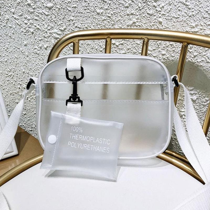 Fashion Transparent Women Girls Clear Crossbody Bag PVC Handbag Casual Zipper Adjustable Strap Shoulder Bags