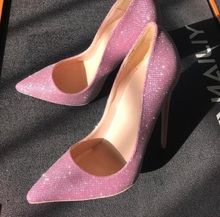 цена на Sexy Pink Glitter Pumps Women Shoes High Stiletto Heel Pointed Toe Wedding Shoes Bride Low-cut Thin Heels Dress Shoes