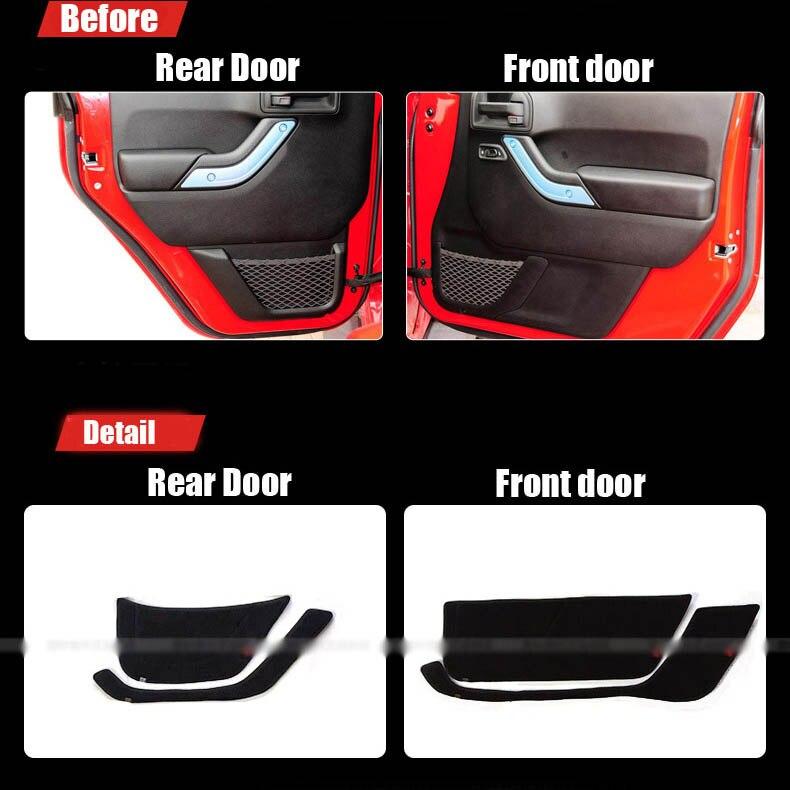 Ipoboo Savanini 4pcs Fabric Door Protection Mats Anti-kick Decorative Pads For Jeep Wrangler 2011-2015 ipoboo 4pcs fabric door protection mats anti kick decorative pads for hyundai elantra 2012 2015