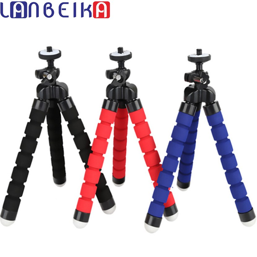 LANBEIKA Mini Portable Flexible Sponge Octopus Tripod Stand Mount With Holder For GoPro Hero 6 5 4 3+ 3 2 SJCAM SJ6 SJ7 SJ5000