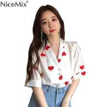 NiceMix 2019 Summer Womens Tops And Blouses Print Heart Short Sleeve Blouses With Pearl Button Blusas Camisas Mujer Roupas цена