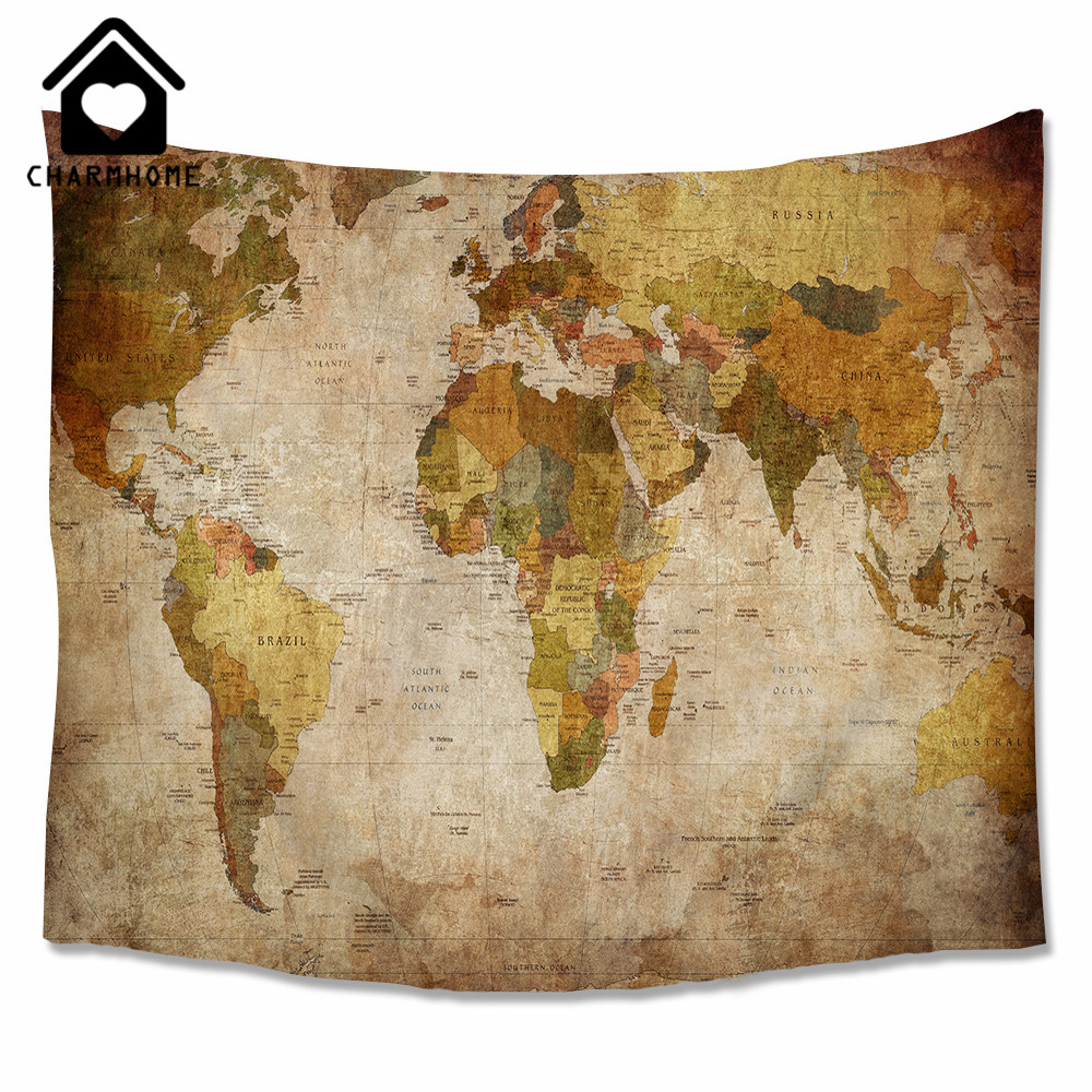 Charmhome watercolor world map printed tapestry wall hanging hippie charmhome watercolor world map printed tapestry wall hanging hippie polyester tapestry beach throw rug blanket beach towel in tapestry from home garden on gumiabroncs Gallery