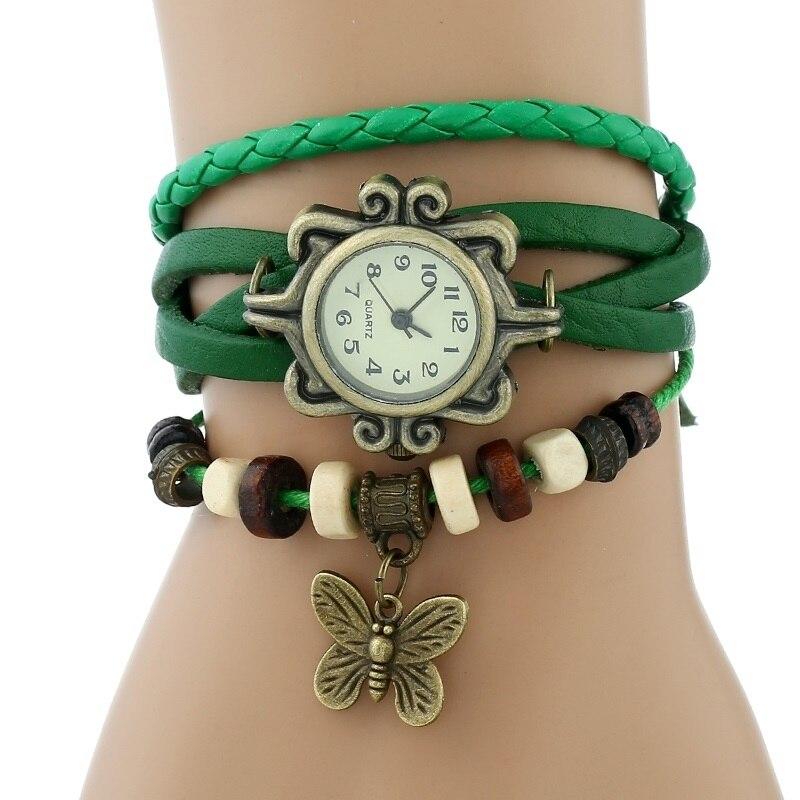 Gnova платины Кожаный Браслет Бабочка Леди Винтаж наручные часы мятно-зеленый розовый фиолетовый Этническая мода A887 - Цвет: Зеленый