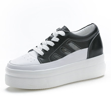 Spring  Summer 2019 New Type Leather White Shoes Increased Thick Bottom Leisure Fashion Ladder Muffin Genuine