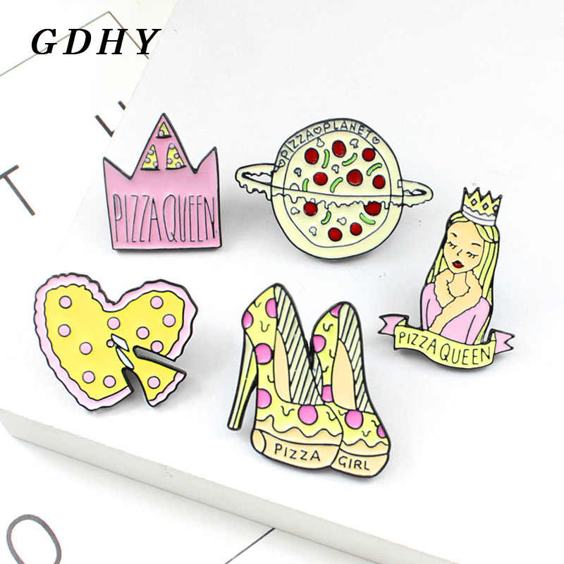 GDHY Pizza Queen Brooches Pizza Heart-shaped An crown Planet High Heels Cute Girl Pink Enamel Pins Pizza Lover Jewelry For women