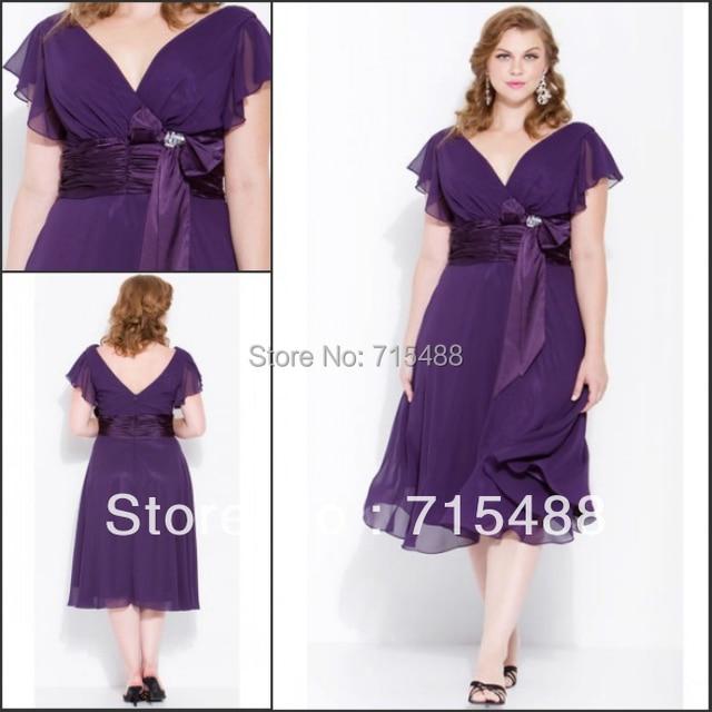 Plus Size 2017 Short Chiffon V Neck Cap Sleeve Eggplant Purple Western Bridesmaid Dresses