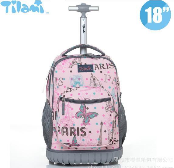 18 Inch Wheeled Backpack For Kids School Backpack On Wheels Trolley Backpacks Bag For Teenagers Children School Rolling Backpack