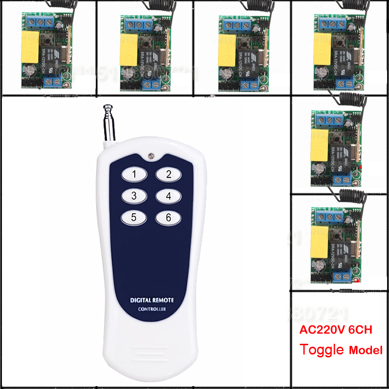 220V 1CH Radio Wireless Remote Control Switch Receiver& transmitter Learning Code light lamp LED ON OFF Output Adjusted new 220v 1ch radio remote control switch light lamp led on off 6receiver