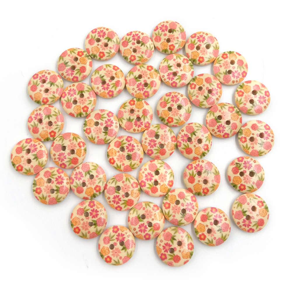 100 шт Красивые цветочные формы 2 отверстия деревянные пуговицы «сделай сам» альбом для вышивки декора
