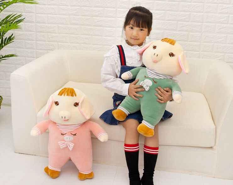 Grande 50 cm rosa ou verde porco brinquedo de pelúcia de algodão para baixo encantador dos desenhos animados porco muito macio lance boneca travesseiro presente de aniversário s2845