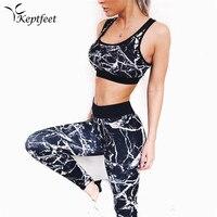 2PCS Graffiti 3D Printed Women S Sport Wear Vest Tank Top And Long Leggings Outfit Yoga