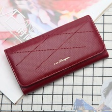 Fashion Genuine PU Wallet Women Long Slim  Lady Casual Day Clutch Card Holder Phone Pocket Wallet Female Purse