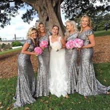 Bling Grey Sequins Mermaid Bridesmaid Dresses 2017 with Short Sleeves Backless Bridesmaid Gowns Long Junior Wedding Party Gowns