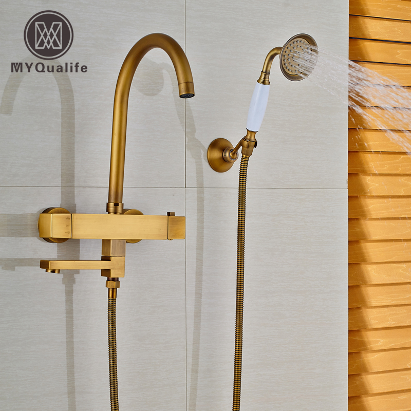 Dual Handle Brass Antique Bathub Tub Sink Faucet Taps Thermostatic Mixer Valve + Handshower + Holder + Rotation Tub Spout