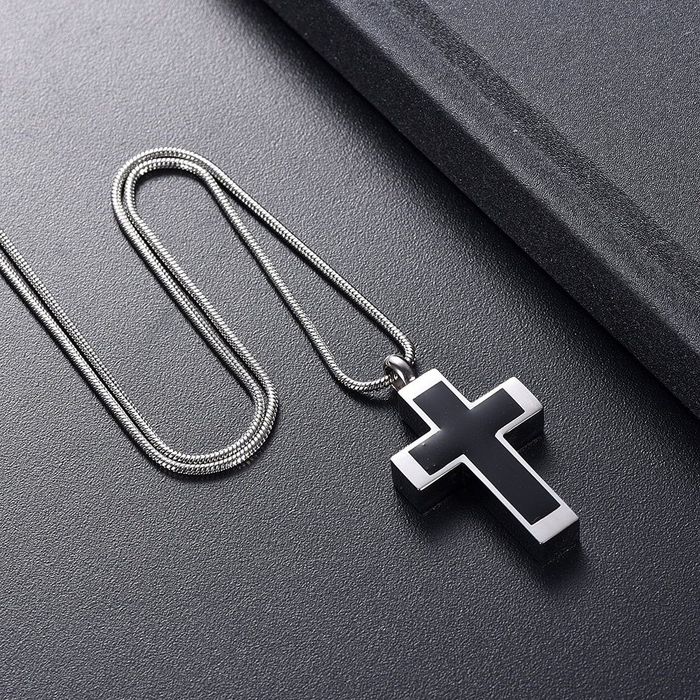 IJD11124 Funeral Jewelry -Black Cross Stainless Steel Memorial Urn Necklace Locket Hold Ashes Keepsake Cremation Pendant For Men 5