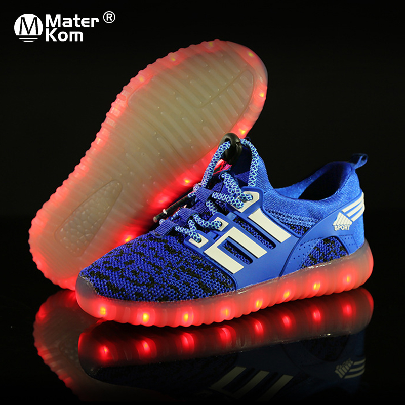 Size 25-37 Children's Sneakers Luminous Sneakers For Boys Girls Breathable Sports Shoes USB Led Light Shoes With Luminous Sole