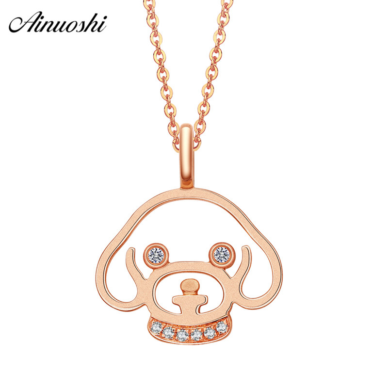 AINUOSHI Cute 18K Rose Gold Diamond Pendant Women 0.025ct Diamond Dog Head Pendants for Necklace Fine Jewelry Anniversary Gift cute dog heart pendant necklace for women