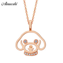 AINUOSHI Cute 18K Rose Gold Diamond Pendant Women 0.025ct Diamond Dog Head Pendants for Necklace Fine Jewelry Anniversary Gift