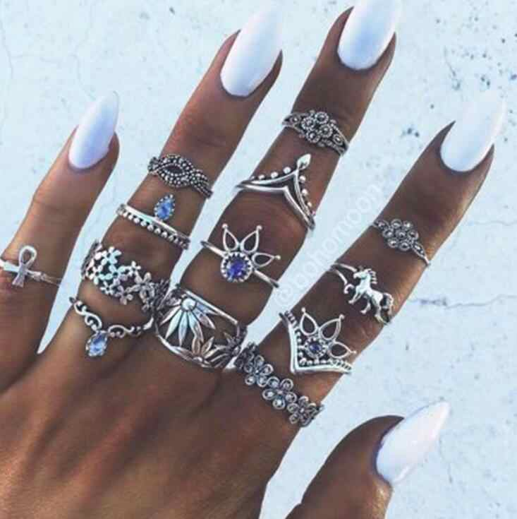 2018 Retro Flower Infinite Knuckle Rings For Women Vintage Geometric Pattern Crystal Rings Set Party Bohemian Jewelry 13 PCS/Set