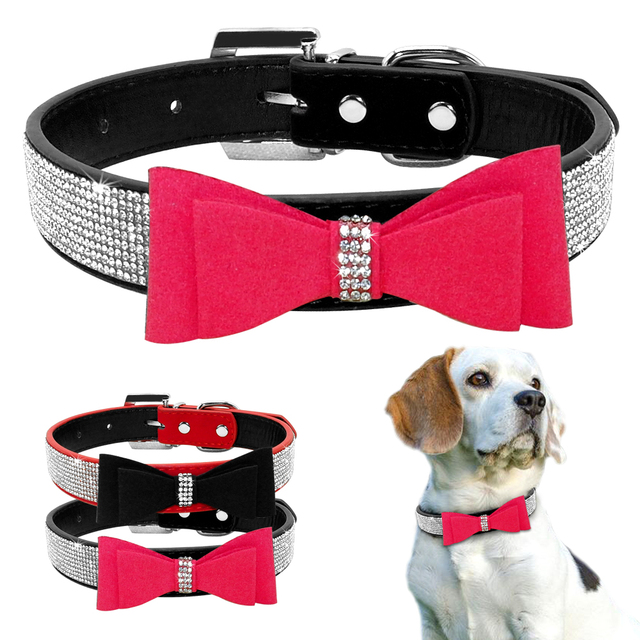Bow Tie Rhinestones Dog Collar Sparkly Crystal Diamonds Studded Suede and Padded Wide Bling Collars for Medium and Large Dogs