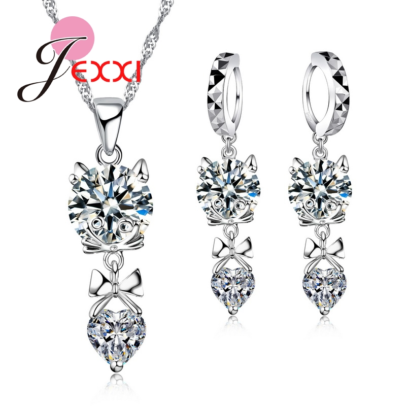 Collier Wedding Party Dress Accessories 925 Sterling Silver  Animal Fox Pendant Necklace Earrings Set forWomen JewerlyCollier Wedding Party Dress Accessories 925 Sterling Silver  Animal Fox Pendant Necklace Earrings Set forWomen Jewerly