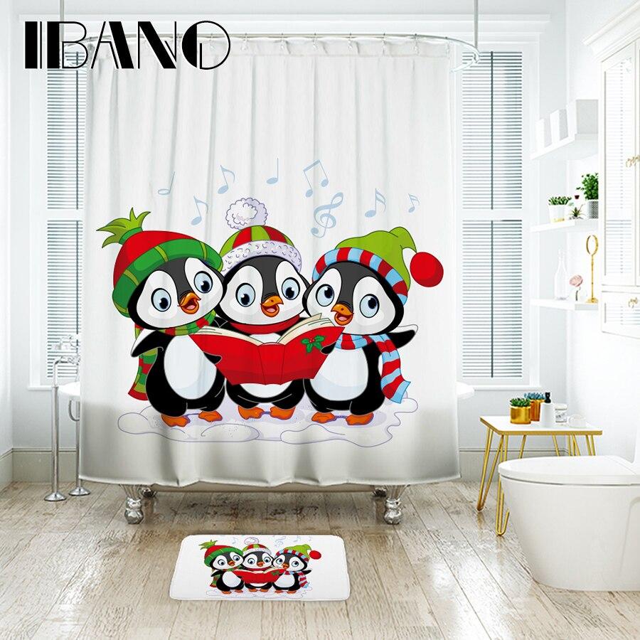 IBANO Frohe Weihnachten Pinguin Duschvorhang Wasserdicht Polyester ...